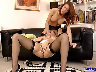 babe, high heels, MILF, pussy, pussy lick, redhead, stockings
