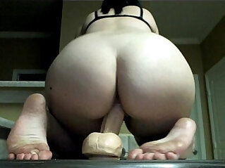 dildo, pussy, riding, shaved, shaved pussy